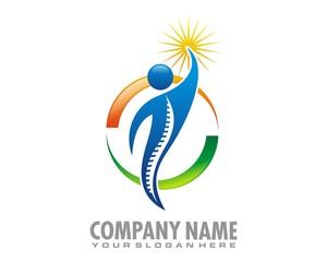 blue figure hold light logo image vector