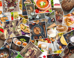 food photos on a wooden table