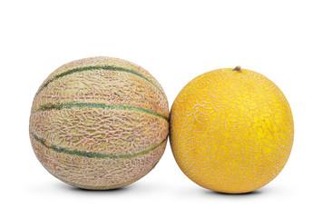 cantaloupe melons isolated on white background