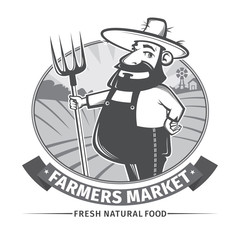label or logo  with farmer