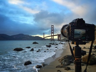 photographing famous golden gate bridge in san francisco