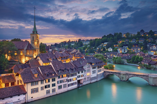 Bern. Image of Bern during dramatic sunset.