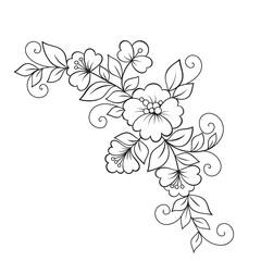 Flower ornament, design element.