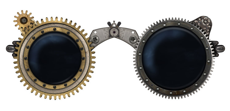 Steampunk glasses metal collage