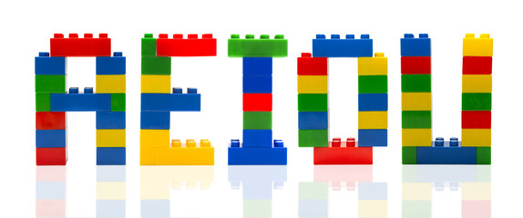 Consonants letter build from toy building blocks