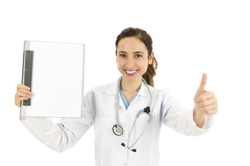 Friendly female doctor with a clipboard giving thumbs up