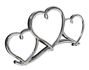 Metal photo frame in form of three hearts with   isolated place