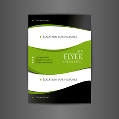 Flyer for business advertising. Vector in black and green colors