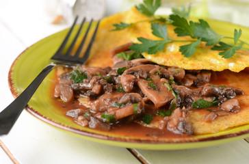 Omelette ai funghi con prezzemolo