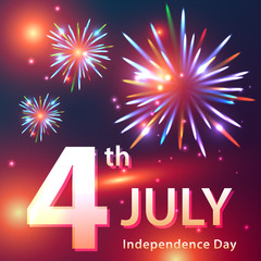 Independence Day card with fireworks