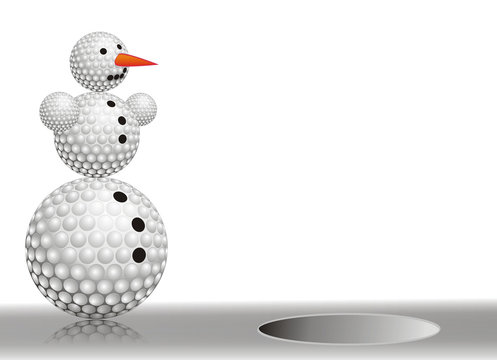 snowman made from golf balls