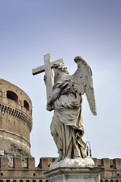 Marble statue of angel from the Sant'Angelo Bridge in Rome