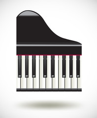 grand  piano keys icon on white