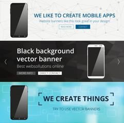 Set of website header designs with realistic looking smartphone