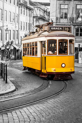 Famous yellow 28 tramway  of Lisbon in Portugal