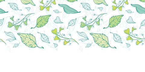 Vector lineart spring leaves horizontal border seamless pattern