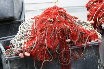 large fishing nets red