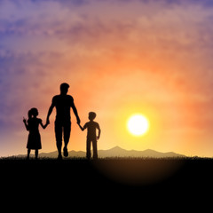 Father and children silhouette