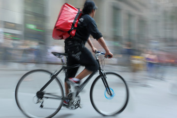 Shipping with bicycle in the city