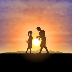 Father and child silhouette