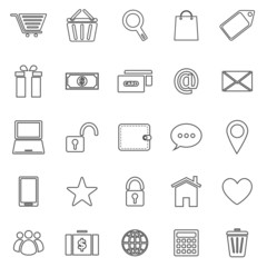 Ecommerce line icons on white background