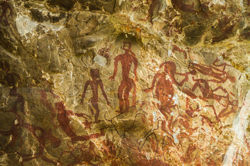 The paintings on cave walls