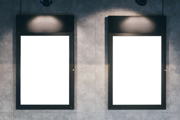 Mock up Blank template poster frame on wall