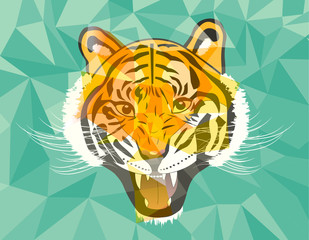 Tiger anger head geometric style on green background