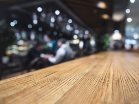 Table top counter Bar restaurant background with people