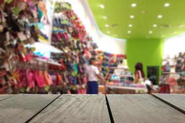 Defocus image of terrace wood and shoe shop in department store