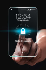 Transparent smartphone with lock icon on blue background