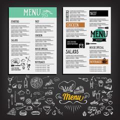 Food menu, restaurant template design. Flyer cafe.
