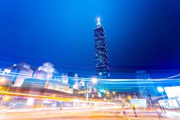 Fotomurales - traffic blur motion in modern city street