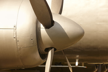 Aircraft propeller engines airframe and blades in warm tone