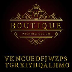 Monogram design elements, English letters. Elegant line art logo