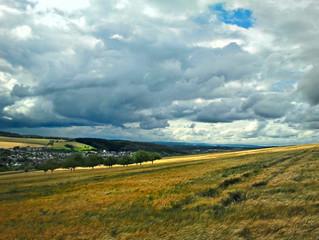 Blick auf ein Feld mit dunklen Wolken am Himmel