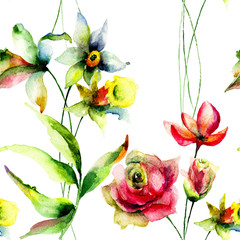 Seamless wallpaper with Narcissus and Roses flowers