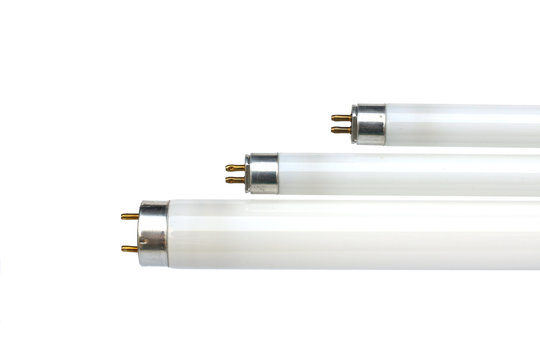 Bulb, Tube, Fluorescent T5 lamplight, and electronic waste on a white background