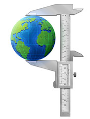 Vertical caliper measures globe. Concept of earth and tool
