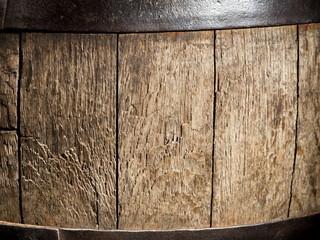 Old oak wine barrel. Close-up shot.