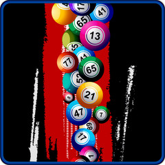 Bingo Balls on black and red background