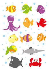 set of sea animals on whote background