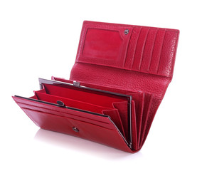 Women's red leather wallet on a white background