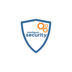 Intelligent security shield silhouette logo