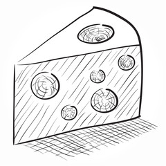 Hand-drawn vector drawing of a cheese