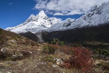 Foto op Canvas Nepal view of Ama Dablam from Pangboche