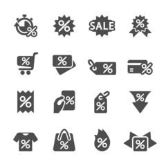 discount tag icon set, vector eps10