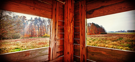 Papiers peints Chasse Interior of hunting tower in autumn season.