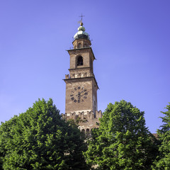 Vigevano, Italy, Torre del Bramante clock tower. Color image