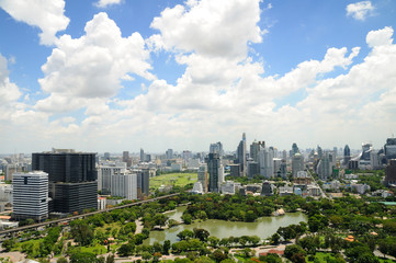 Bangkok midtown aerial panorama view with blue sky and clouds